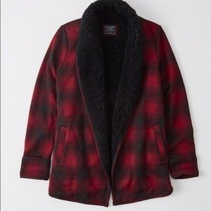 Red and black plaid Sherpa cardigan